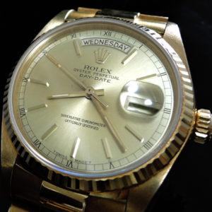 デイデイト 18038 YG K18金無垢 R番 国際保証書、箱 中古腕時計 極上品【中古時計】