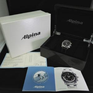 ALPINA ヘリテージクロノグラフ AL850x3H16 黒文字盤 革ベルト【中古時計】