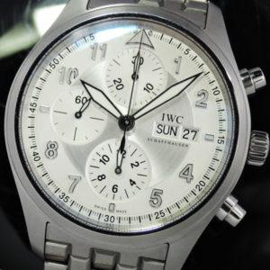 スピットファイヤクロノグラフ IW371705 デイデイト シルバー 美品 中古時計