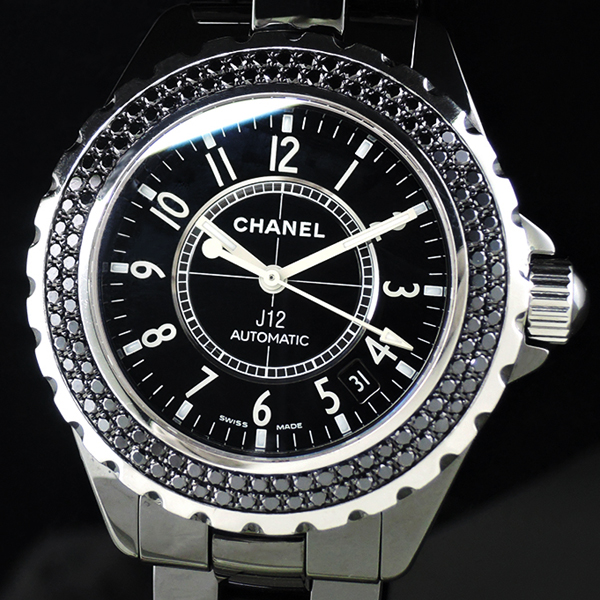 CHANEL J12 H1417 黒セラ ブラックダイヤベゼル 38mm 【委託時計】