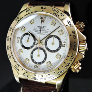 ROLEX デイトナ16518G X番 YGx革 8Pダイヤ 白文字盤 中古時計