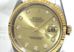 ROLEX デイトジャスト 16233G U番 シャンパンゴールド 18KYGxSS 10Pダイヤ 保証書有 【委託時計】
