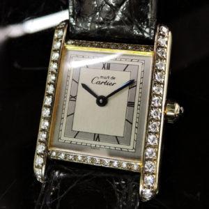 Cartier マストタンク レディース クオーツ アフターダイヤ 【中古時計】 【委託時計】