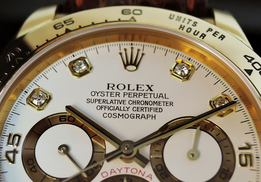 ROLEX デイトナ 16518G W番 18KYGx革 8Pダイヤ 白文字盤
