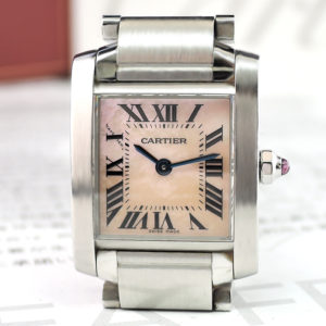 CARTIER タンクフランセーズSM W51028Q3 レディース時計 クォーツ ピンクシェル 付属品付 【委託時計】