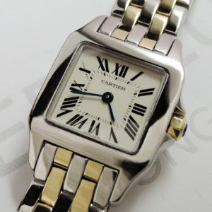Cartier サントスドゥモワゼルSM W25066Z6 クオーツ 時計 アイボリー 付属品有 【委託時計】