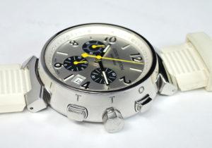 LOUIS VUITTON タンブール クロノ Q112E SSx白ラバー メンズ腕時計 自動巻 【委託時計】