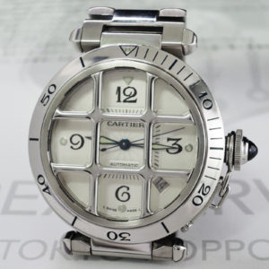 Cartier パシャ38mm グリット W31040H3 自動巻 腕時計 メンズ SS 白文字盤 【委託時計】