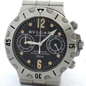 BVLGARI ディアゴノスクーバ SCB38S クロノグラフ 自動巻 黒文字盤 【委託時計】