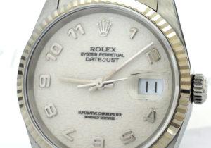 ROLEX デイトジャスト 16234 T番 18KWGxSS 白ホリコン 保証書有 【委託時計】
