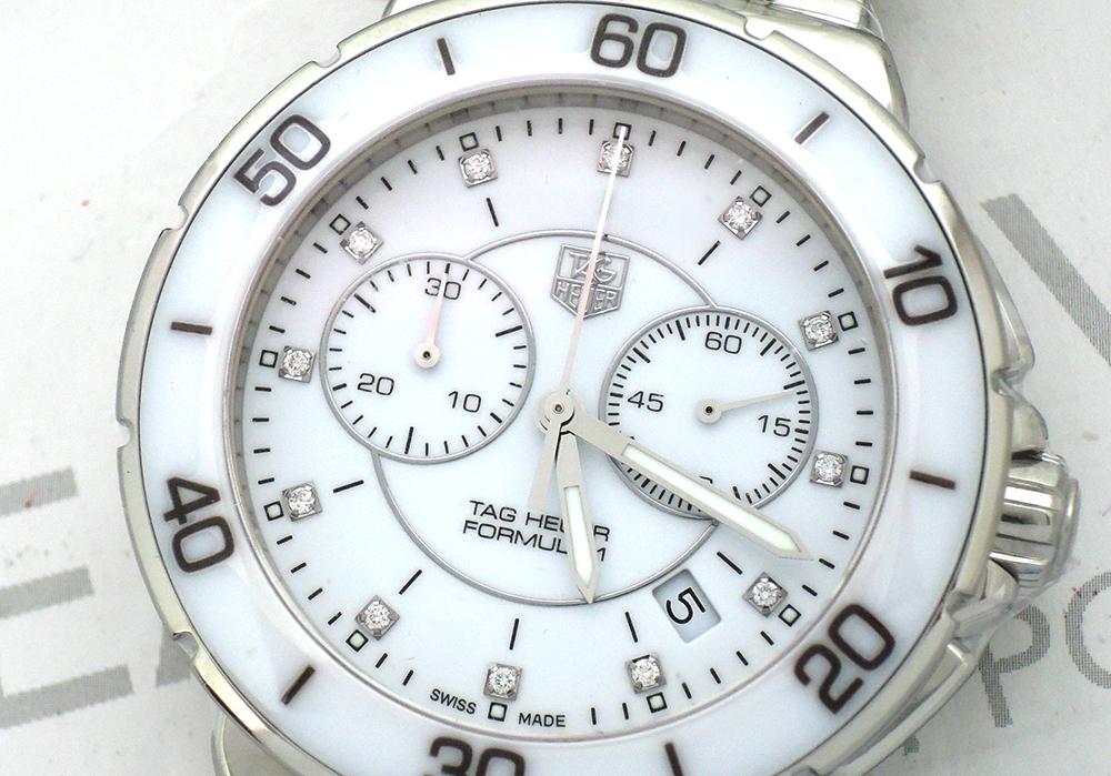 TAGHEUER フォーミュラ1 CAH1211.BA0863 クォーツ式 クロノグラフ 12Pダイヤ 白セラミック 保証書有 保護シール付 未使用品 【委託時計】