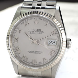 ROLEX デイトジャスト 16234 Y番 18KWGxSS シルバーローマン 08/2003 保証書有 【委託時計】