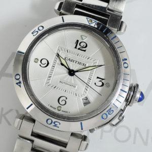 Cartier パシャ38mm 2379 クロノグラフ 自動巻 腕時計 メンズ アイボリー文字盤 ギョーシェ 【委託時計】