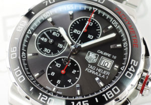 TAG HEUER フォーミュラ1 クロノグラフ CAR2011.BA0873 メンズ 自動巻 グレー文字盤 02/2016保証書有 【委託時計】
