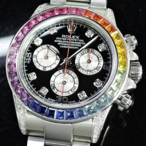 ROLEX デイトナ 116520 M番 レインボーアフターセッティング 8Pダイヤ 【委託時計】