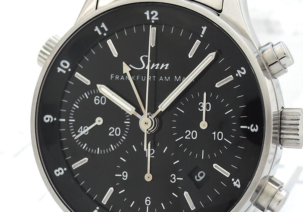Sinn 6000 フランクフルト GMT 自動巻き ステンレススチール クロノグラフ メンズ 黒文字盤 【委託時計】