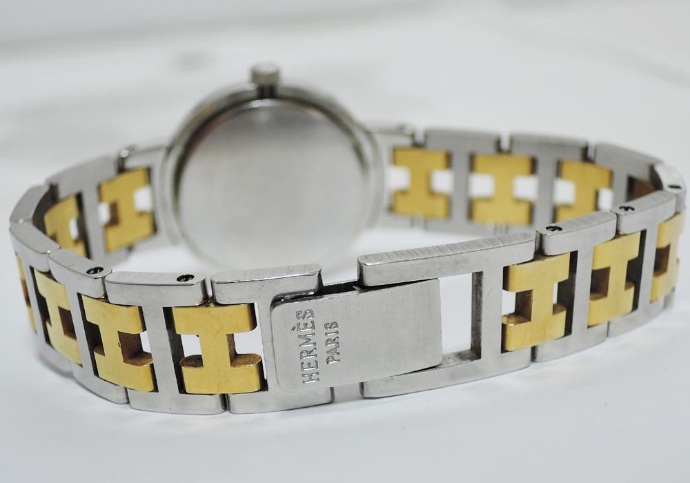 HERMES クリッパー クォーツ クリーム文字盤 コンビ 保証書 【委託時計】