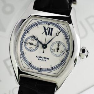 Cartier トーチュ ワンプッシュクロノ W1525851 手巻 メンズ 18KWGx黒革 白文字盤 01/2007保証書付【委託時計】