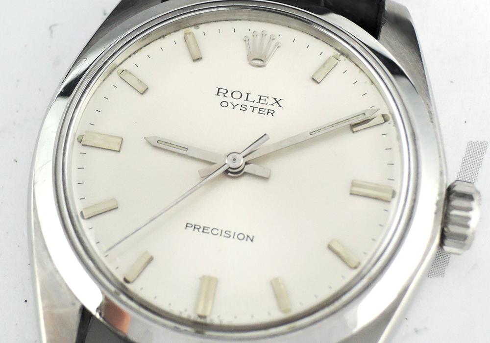 ROLEX オイスター プレシジョン 6426 3番台 手巻き メンズ腕時計 シルバー文字盤 社外ベルト 【委託時計】