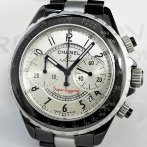 CHANEL J12 スーパーレッジェーラ クロノグラフ H2039 黒セラxアルミ シルバーダイヤル 【委託時計】