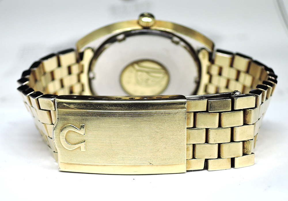 OMEGA マイスター コンステレーション メンズ腕時計 金文字盤 自動巻 SS ブレス 【委託時計】