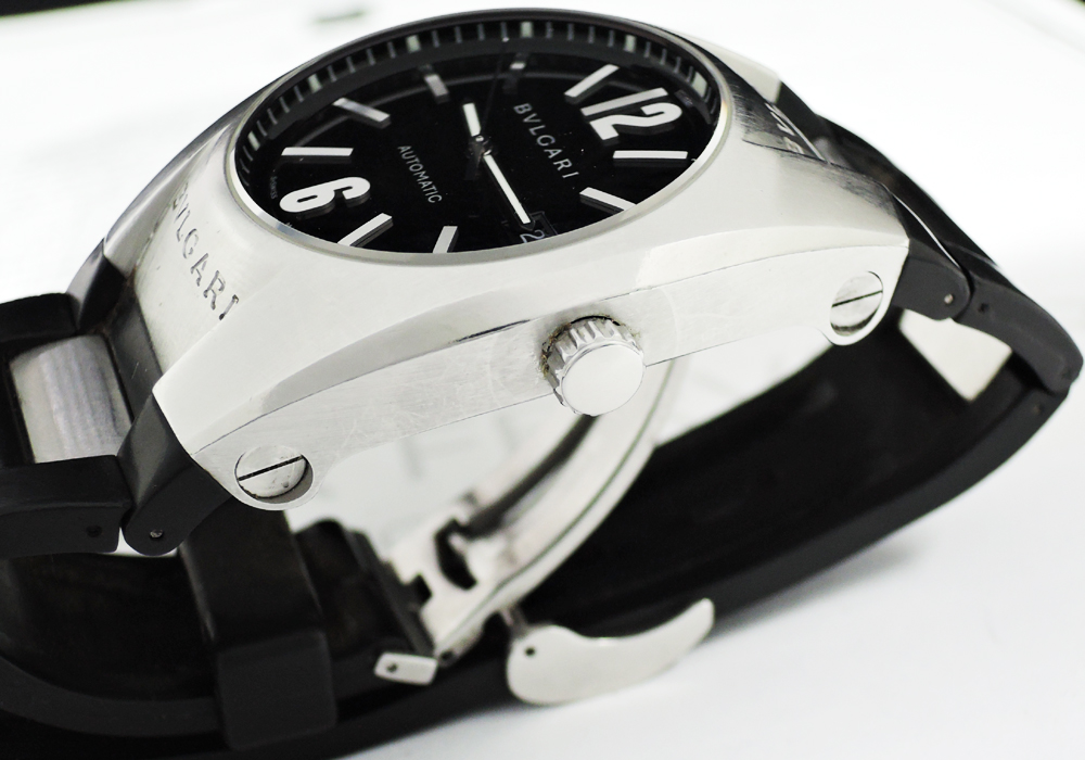 BVLGARI エルゴン EG40S クロノグラフ 黒文字盤 自動巻 保証書 【委託時計】