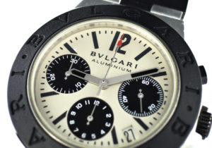 BVLGARI アルミニウム クロノグラフ AC38TA メンズ腕時計 シルバーx黒文字盤 自動巻 国際保証書 【委託時計】