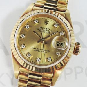 ROLEX デイトジャスト 69178G 金無垢 R番 レディース腕時計 シャンパン文字盤 自動巻 ダイヤモンド イエローゴールド 【委託時計】