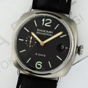 PANERAI ラジオミール 8デイズ チタニオ PAM00346 保証書 チタンx革 シースルーバック 手巻き メンズ腕時計 【委託時計】