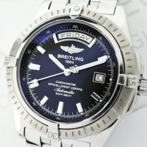 BREITLING ヘッドウィンド A45355 メンズ腕時計 自動巻 黒文字盤 04/2001保証書有 【委託時計】