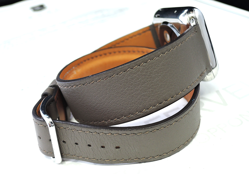 HERMES アップルウォッチ ユニセックス腕時計 スマートウォッチ 充電式 エルメスベルト グレー 保証書 【委託時計】