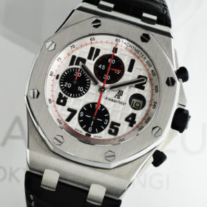 AUDEMARS PIGUET ロイヤルオーク オフショア クロノグラフ 26170ST.OO.D101CR.02 自動巻 シルバー文字盤 スモールセコンド クロコストラップ 箱 保証書 【委託時計】