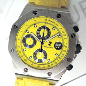 AUDEMARS PIGUET ロイヤルオーク オフショア クロノグラフ イエロー 25770ST.0.D009XX.02 自動巻 レザーストラップ ステンレス メンズ 腕時計 箱 【委託時計】