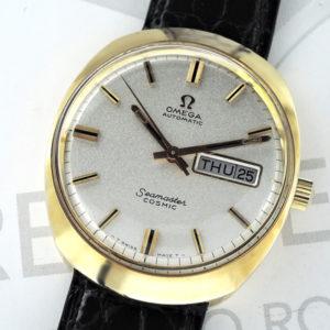 OMEGA シーマスター コスミック 166035 K18 メンズ時計 デイト 自動巻き シルバー文字盤 新品純正ベルト 箱 【委託時計】