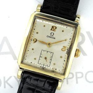 OMEGA アンティーク 14K メンズ腕時計 手巻き シルバー文字盤 新品純正ベルト 箱 【委託時計】