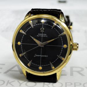 OMEGA シーマスター K14 メンズ腕時計 自動巻き 黒文字盤 新品純正ベルト 【委託時計】