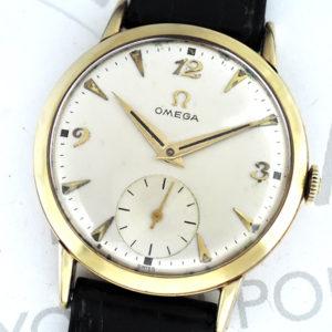 OMEGA アンティーク 14K ゴールド メンズ腕時計 手巻き シルバー文字盤 新品純正ベルト 【委託時計】