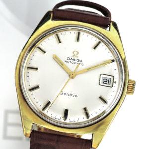 OMEGA アンティーク 14K ゴールド メンズ腕時計 自動巻 シルバー文字盤 ベルト社外品 【委託時計】