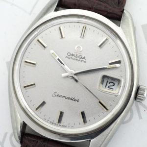 OMEGA シーマスター デイト アンティーク メンズ腕時計 シルバー文字盤 自動巻 SS 純正新品ストラップ 【委託時計】