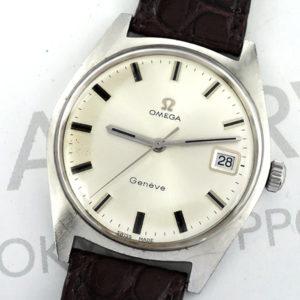 OMEGA ジュネーブ デイト メンズ腕時計 アンティーク 自動巻 シルバー文字盤 ステンレス 純正新品ストラップ 【委託時計】