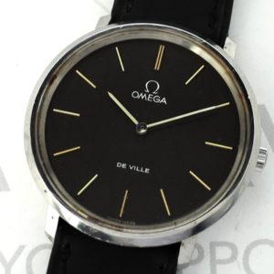 OMEGA デビル DE VILLE アンティーク メンズ腕時計 クオーツ 黒文字盤 オメガ純正新品ストラップ 【委託時計】
