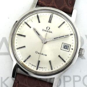 OMEGA ジュネーブ デイト メンズ腕時計 アンティーク 手巻 シルバー文字盤 ステンレス 純正新品ストラップ 【委託時計】