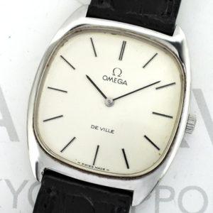 OMEGA デビル DE VILLE アンティーク メンズ腕時計 手巻き 黒文字盤 オメガ純正新品ストラップ 【委託時計】