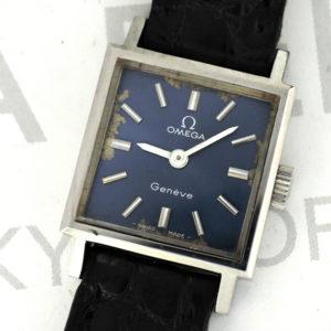 OMEGA ジュネーブ レディース腕時計 アンティーク 手巻 青文字盤 ステンレス 純正新品ストラップ 【委託時計】