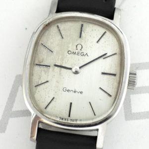 OMEGA ジュネーブ レディース腕時計 アンティーク 手巻 シルバー文字盤 ステンレス 純正新品ストラップ 【委託時計】