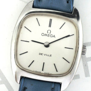 OMEGA デビル DE VILLE アンティーク レディース腕時計 手巻き シルバー文字盤 社外新品ストラップ 【委託時計】