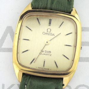 OMEGA デビル DE VILLE アンティーク レディース腕時計 クオーツ シャンパン文字盤 社外新品ストラップ 【委託時計】