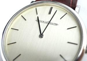 JAEGER LECOULTRE アンティーク ヴィンテージ ステンレス 腕時計 手巻 シルバー文字盤 純正新品アリゲーターストラップ 本体のみ 【委託時計】