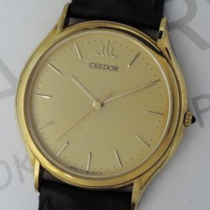 SEIKO クレドール 7771-6020 男性用腕時計 クォーツ ゴールド文字盤 18KYGx黒革 【委託時計】