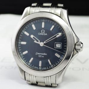 OMEGA シーマスター 120M 2511.81 メンズ腕時計 デイト クオーツ 青文字盤 ステンレス 保証書 【委託時計】